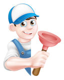 Cartoon Plunger Plumber Stock Image