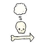 Cartoon pointing arrow skull Royalty Free Stock Photos