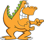 Cartoon pointing dinosaur Royalty Free Stock Photos