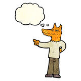 Cartoon pointing fox man with thought bubble Royalty Free Stock Images