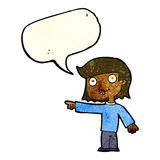 cartoon pointing person with speech bubble Stock Photo