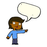 Cartoon pointing person with speech bubble Stock Image