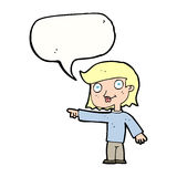 Cartoon pointing person with speech bubble Royalty Free Stock Images