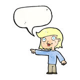 Cartoon pointing person with speech bubble Stock Images