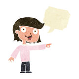 Cartoon pointing person with speech bubble Royalty Free Stock Photo