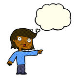cartoon pointing person with thought bubble Royalty Free Stock Photos