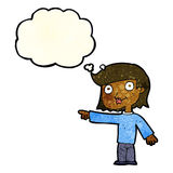 Cartoon pointing person with thought bubble Royalty Free Stock Image