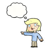 Cartoon pointing person with thought bubble Stock Photo