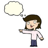 Cartoon pointing person with thought bubble Royalty Free Stock Images