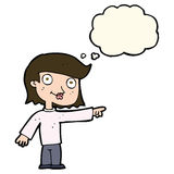 Cartoon pointing person with thought bubble Stock Images