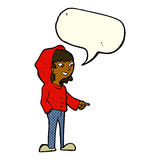cartoon pointing teenager with speech bubble Stock Images