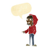 cartoon pointing teenager with speech bubble Royalty Free Stock Photo
