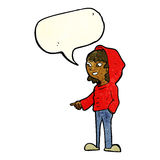 cartoon pointing teenager with speech bubble Stock Photos