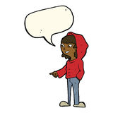 cartoon pointing teenager with speech bubble Royalty Free Stock Photography