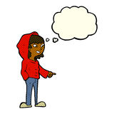 cartoon pointing teenager with thought bubble Stock Images
