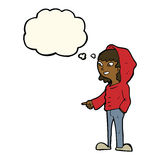 cartoon pointing teenager with thought bubble Stock Photo