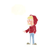 cartoon pointing teenager with thought bubble Royalty Free Stock Image