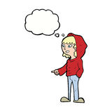 cartoon pointing teenager with thought bubble Royalty Free Stock Photo