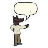 Cartoon pointing wolf man with speech bubble Royalty Free Stock Photo