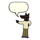 Cartoon pointing wolf man with speech bubble Royalty Free Stock Photos