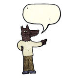 Cartoon pointing wolf man with speech bubble Royalty Free Stock Images
