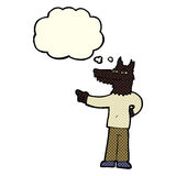 Cartoon pointing wolf man with thought bubble Stock Photography