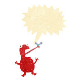 cartoon poisonous frog catching fly with speech bubble Stock Photo