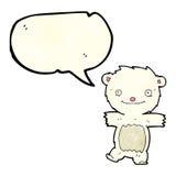 cartoon polar bear cub with speech bubble Royalty Free Stock Photography