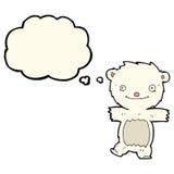 cartoon polar bear cub with thought bubble Stock Photo