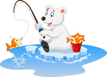 Cartoon polar bear fishing Stock Photos