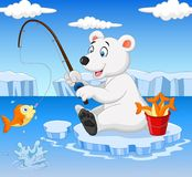 Cartoon polar bear fishing Royalty Free Stock Photos
