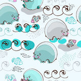 Cartoon polar bear fishing salmon, seamless pattern Royalty Free Stock Image