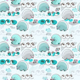 Cartoon polar bear fishing salmon, seamless pattern Royalty Free Stock Images