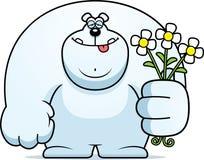 Cartoon Polar Bear Flowers Stock Photos