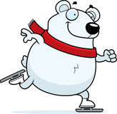Cartoon Polar Bear Ice Skating Royalty Free Stock Photography