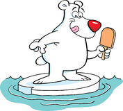 Cartoon polar bear on an iceberg. Stock Images