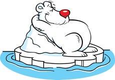 Cartoon polar bear laying on an iceberg. Royalty Free Stock Photo