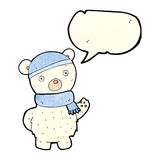 Cartoon polar bear in winter hat and scarf with speech bubble Royalty Free Stock Images