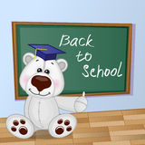 Cartoon Polar Bear wrote in classroom Royalty Free Stock Photo