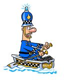 Cartoon police boat. Cartoon caricature of policeman in rowboat with siren on hat Royalty Free Stock Photos