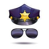 Cartoon police cap and cops sunglasses. Stock Photo