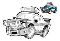 Cartoon police car - caricature - coloring page Stock Photo