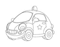 Cartoon police car - coloring page. Beautiful and colorful illustration for the children - for different usage - for fairy tales royalty free illustration