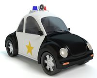 Cartoon Police Car. 3d illustration of a cartoon police car Stock Photos