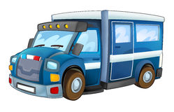 Cartoon police car - truck - isolated background Royalty Free Stock Image