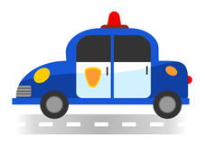 Cartoon police car on white background Stock Photos