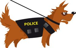 Police dog at work. Cartoon police dog detecting drugs or explosives, EPS 8 vector illustration stock illustration