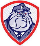 Cartoon Police Dog Watchdog Bulldog Shield Royalty Free Stock Photography