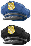 Cartoon police hat with golden badge set Stock Images