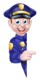 Cartoon Police Man Sign Royalty Free Stock Images